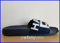 Michael Kors Gilmore Iconic Mk Logo Navy White Crystals Slides Us 8 I Love Shoes