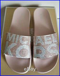 Michael Kors Gilmore Iconic Mk Logo Pink White Crystal Slides 7 8 I Love Shoes