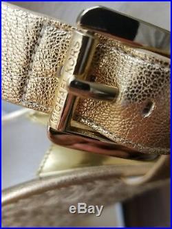 Michael Kors Giovanna Mk Logo Gold Espadrilles Wedges I Love Shoes