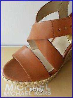 Michael Kors Giovanna Mk Logo Luggage Espadrille Wedges Us 10 11 I Love Shoes