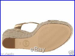 Michael Kors Giovanna Wedge Gold Women Platform Open Toe Sandal Shoes Multisize