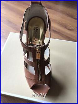 Michael Kors Gorgeous Tan Leather High Heel Shoes With Zip Detail 9M 40