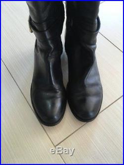Michael Kors Hamilton Black Leather Woman Boots Size 8.5