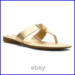 Michael Kors Hamilton Flat Gold Mk Logo Womens Thong Slip On Shoes Multisize