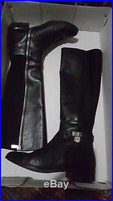 Michael Kors Hamilton Tall Boots Back MK Logo Charm Womens Size 8 M