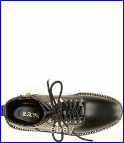 Michael Kors Haskell Mk Pvc Brown Gold Zip Combat Biker Boots I Love Shoes