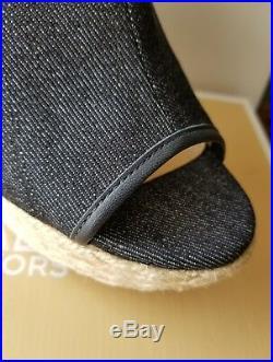 Michael Kors Hastings Mk Logo Denim Espadrilles Wedges Mules Slides I Love Shoes