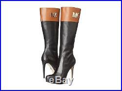 fddb9719130 Michael Kors Hayley Amazing 2 Tone High Heel Sexy Gold Mk Logo Boots ...