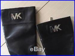 Michael Kors Hayley Black Leather Woman Boots Size 7.5