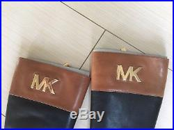 dd7b91e4bdf2 Michael Kors Hayley Black/Luggage Leather Woman Boots Size 6 ...