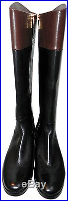 Michael Kors Hayley Gold Mk Black Leather Flat Riding Boot Riding Bootie 6.5