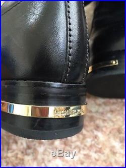 Michael Kors Hayley Mk Logo Black Brown Leather Flat Riding Boots Sz 6M EUC $298