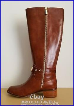 Michael Kors Heather Gold Logo Caramel Tall Riding Boots Wide Shaft I Love Shoes