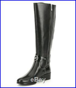 Michael Kors Heather Silver MK Logo High Riding Boots Black Leather 6.5 M New