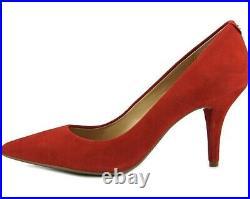 Michael Kors Heels 7 M Red Dorothy Flex Suede Crimson Mid Pump Shoes Womens NIB