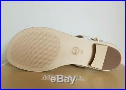 Michael Kors Iconic Gold Mk Plate Logo Print Thongs Sandals Us 11 I Love Shoes