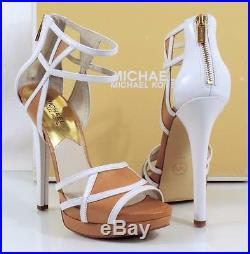Michael Kors JAIDA BACK ZIP Cutout Heels Sandals Leather White / SunTan Size 9