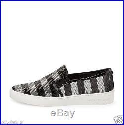 Michael Kors Keaton Slip On Black Silver Stripe Sequin Mk Womens Shoes Multisize