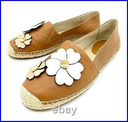Michael Kors Kit Flower Brown Leather Slip On Espadrilles Shoes Size 9 Women
