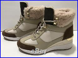 Michael Kors LIV Scout Wedge Bootie Sneakers Cream Dark Caramel 6 /36 $199