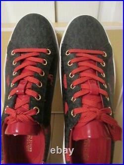 Michael Kors Lace-up Mini Mk Logo Pvc Shoes Black Multi 7.5m 8m New