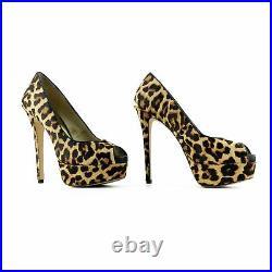 Michael Kors Leopard Print Open Toe Platform Pumps Shoes sz 7.5 37.5