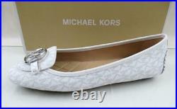 Michael Kors Lillie Moccasin Flat Shoes Mini MK Logo Bright White Size 9.5