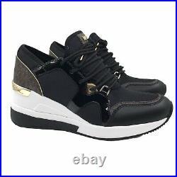 Michael Kors Liv Logo Mixed-Media Womens Shoes US 7 Black Gold Leather