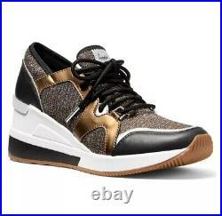 Michael Kors Liv Trainer Glitter Chain Mesh Sneaker Shoes Bronze