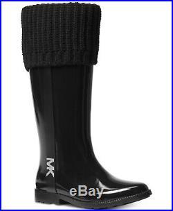 Michael Kors MANDY MK Black Tall Rain Boots Shoes Flats 11 NEW