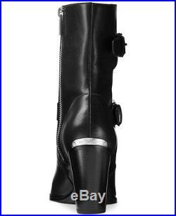 Michael Kors MK ASHTON Black Leather Mid Bootie Short Boots Shoes Multi Size NIB