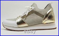 Michael Kors MK Billie Trainer Mesh Sneakers sport Shoe white gold sz 9 sneaker