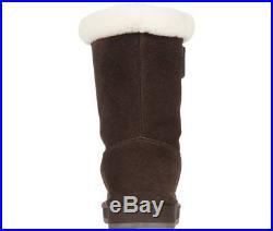 Michael Kors MK Coffee Shearling Fur Winter MID Ankle Boots Shoes Multi Size NIB