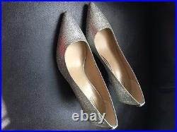 Michael Kors MK Flex Silver Glitter Mid Pumps Heels Shoes 7M