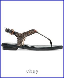 Michael Kors MK Plate Black Bronze Multi T Strap Thongs Sandals Shoes Multi Size