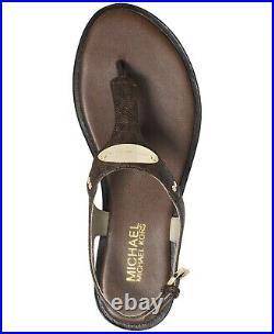 Michael Kors MK Plate Brown Mini Logo T Strap Thongs Sandals Shoes Flats 7 NIB