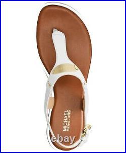 Michael Kors MK Plate Optic White T Strap Thongs Sandals Shoes Multi Size NIB