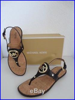 Michael Kors MK Sandalen Gr. 38 AUBREY CHARM THONG BLACK Sandaletten Schuhe