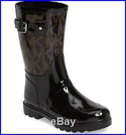 Michael Kors MK Women Rain Boots Rainboots Logo Mid Black Size 6 7 8 Brand New