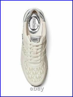 Michael Kors MK Women's Allie Leather Sneakers Shoes Vanilla 8.5