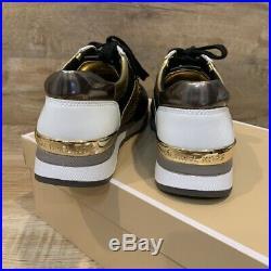 Michael Kors MK Women's Allie Sneakers Trainers Sz 6.5 Black Gold Allison Metal