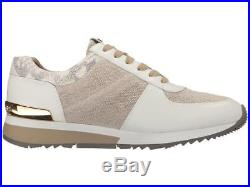 Michael Kors MK Women's Allie Trainer Fabric Sneaker Shoes Natural Size 7.5