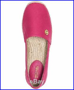 Michael Kors MK Women's Kendrick Leather Slip On Flats Shoes Ultra Pink