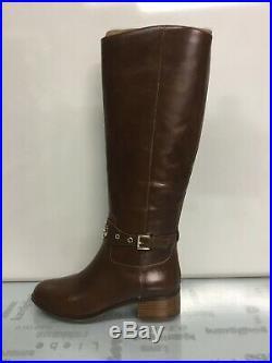 Michael Kors MK Women's Knee High Leather Heather Riding, Dark Caramel, Size 8