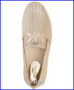 Michael Kors MK Women's Leather Designer Keaton Lasered Metallic Shoes Gold