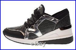 Michael Kors MK Women's Premium Scout Trainer Fabric Sneakers Shoes Gunmetal