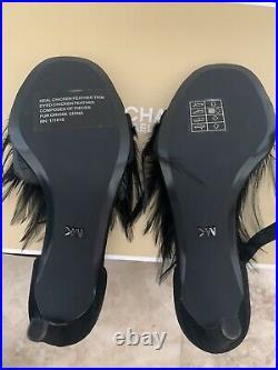 Michael Kors MK asha feather pumps sandals shoes size US 5 EU 35 black NEW w Box