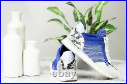 Michael Kors Maddy Large Net Mesh Mixed Media Blue Snakeskin Print Trainer Shoe