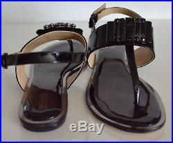 Michael Kors Michelle Thong Patent Women's Black Sandals Size 9 NIB