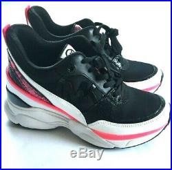 Michael Kors Mickey Trainer Shoes Womens Size 7 Black Multi Pink White Sneakers